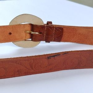 Accessories - Leather belt, paisley floral boho western